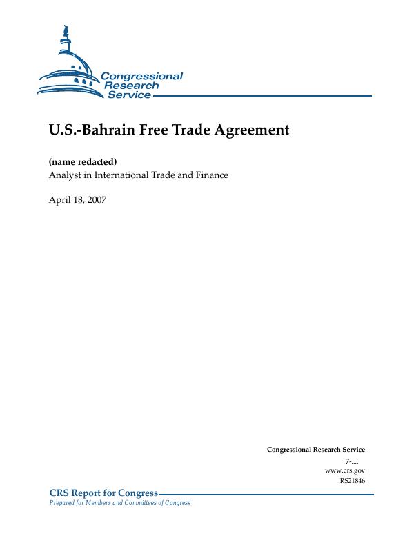 U S -Bahrain Free Trade Agreement - EveryCRSReport com