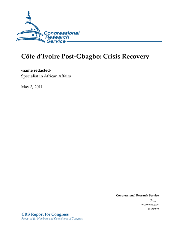 Côte d'Ivoire Post-Gbagbo: Crisis Recovery - EveryCRSReport com