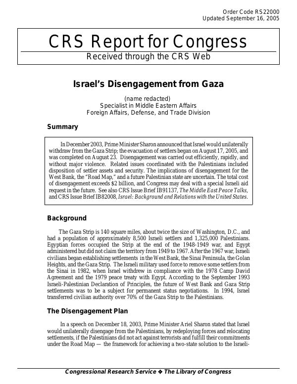 Israel's Disengagement from Gaza - EveryCRSReport com