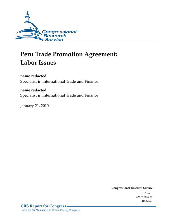 Peru Trade Promotion Agreement Labor Issues Everycrsreport