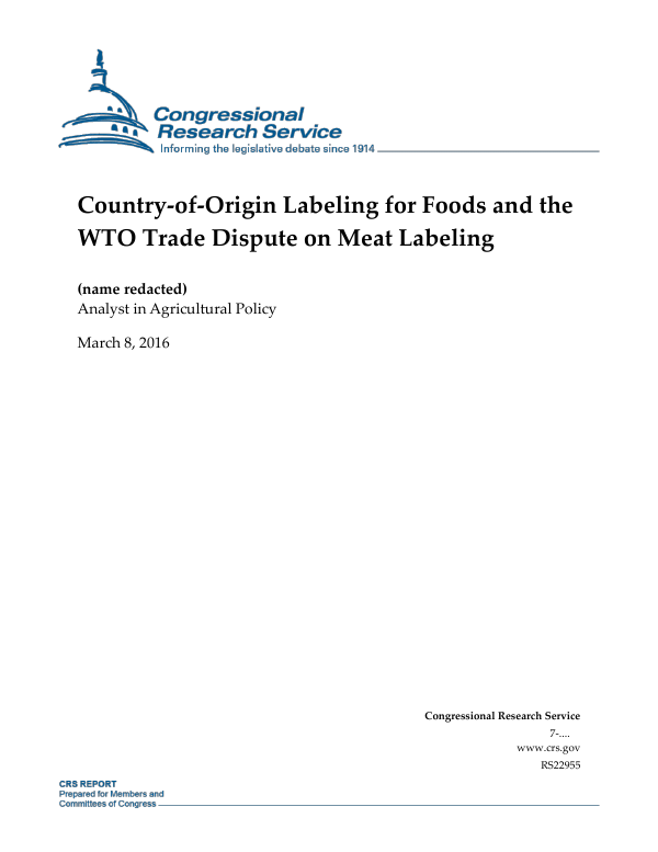 Country-of-Origin Labeling for Foods and the WTO Trade